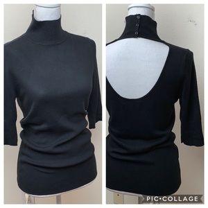 Express: mock neck open back black ribbed sweater